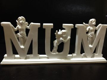 LETTER PLAQUE with CHERUB DECORATION - MUM